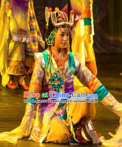 Chinese Happiness On The Way Zang Nationality Dance Yellow Dress Stage Performance Costume and Headpiece for Women