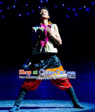 Chinese Happiness On The Way Zang Nationality Clothing Stage Performance Dance Costume for Men