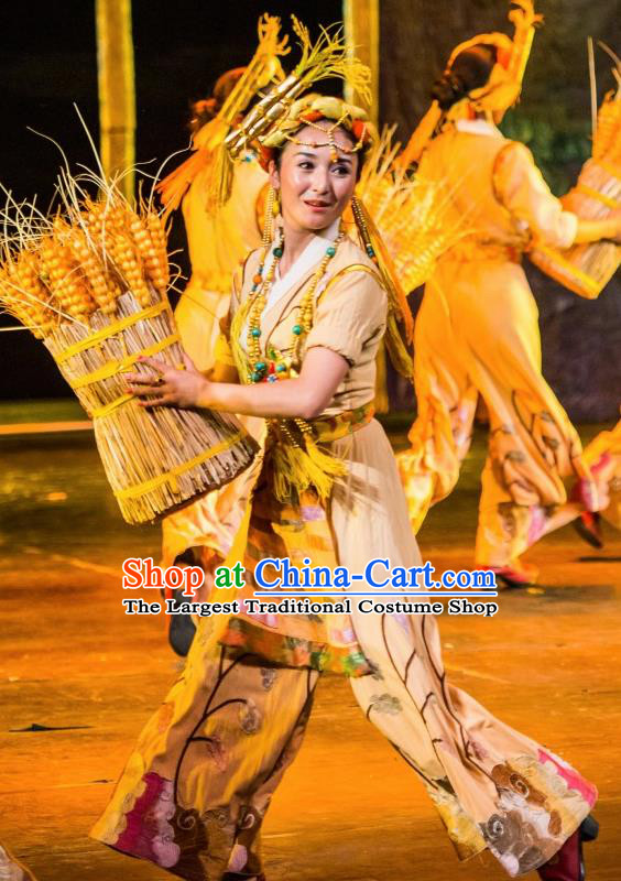 Chinese Happiness On The Way Zang Nationality Farmwife Dance Dress Stage Performance Costume and Headpiece for Women