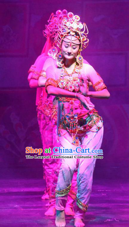 Chinese Happiness On The Way Indian Dance Dress Stage Performance Costume and Headpiece for Women