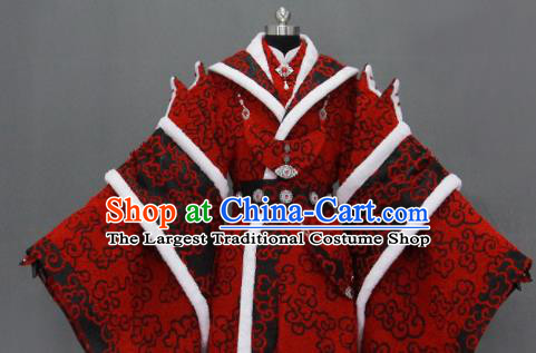 Customize Chinese Traditional Cosplay Taoist King Red Costumes Ancient Swordsman Clothing for Men