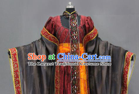 Traditional Chinese Cosplay Goddess Queen Purplish Red Dress Ancient Drama Female Swordsman Costumes for Women