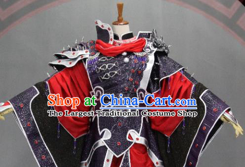 Customize Chinese Traditional Cosplay Evil Prince Purple Costumes Ancient Swordsman Clothing for Men