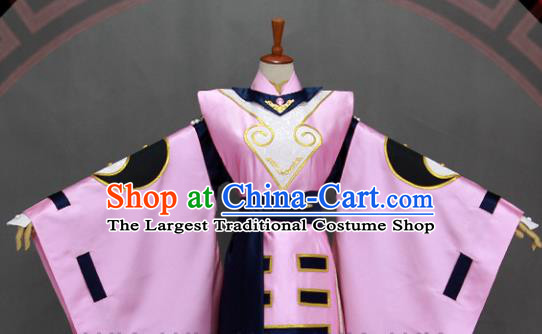 Customize Chinese Traditional Cosplay Taoist Priest Pink Costumes Ancient Swordsman Clothing for Men