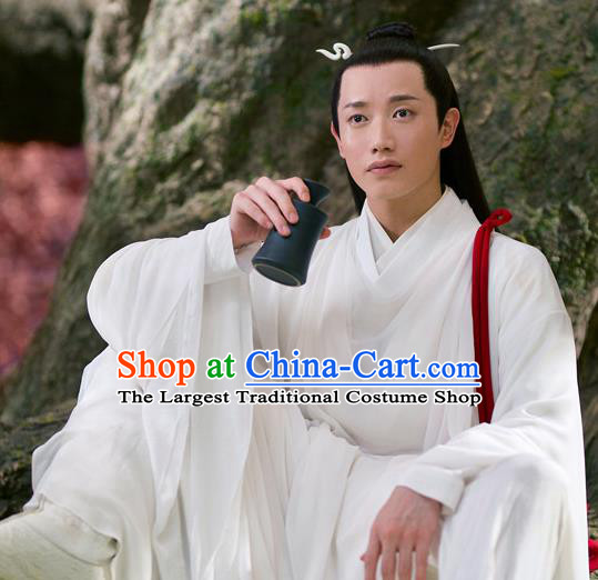 Chinese Drama Love and Destiny Ancient Swordsman High Immortal Yun Feng White Replica Costumes for Men