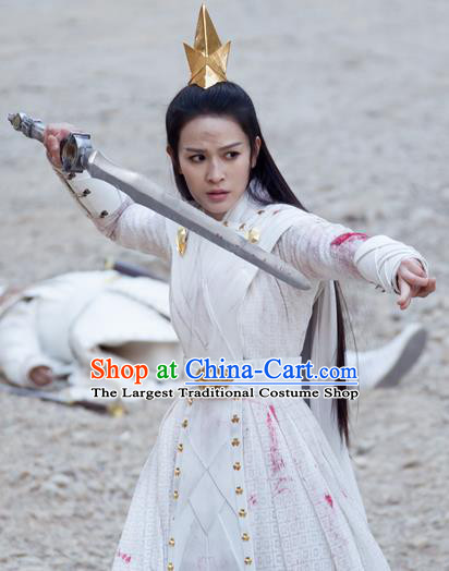 Ancient Chinese Drama Love and Destiny Female Heaven General Yuan Tong Swordsman Replica Costumes for Women