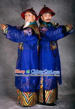 Chinese The Burning Of The Imperial Palace Ancient Qing Dynasty Minister Blue Clothing Stage Performance Dance Costume for Men