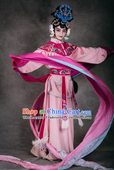 Chinese The Burning Of The Imperial Palace Opera Dance Pink Dress Stage Performance Costume and Headpiece for Women