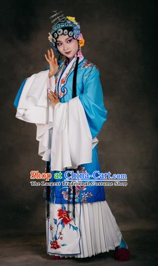 Chinese The Burning Of The Imperial Palace Opera Dance Blue Dress Stage Performance Costume and Headpiece for Women