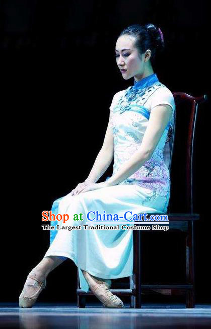 Chinese Female Embroider Classical Dance Blue Dress Stage Performance Costume and Headpiece for Women