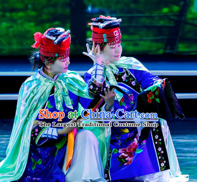 Chinese Prairie Female Embroider Mongol Nationality Dance Blue Dress Stage Performance Costume and Headpiece for Women
