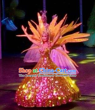 Chinese Night Of West Lake Classical Dance Golden Dress Stage Performance Costume and Headpiece for Women