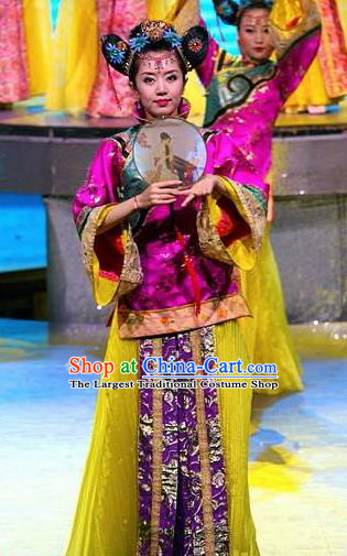 Chinese Night Of West Lake Classical Dance Purple Dress Stage Performance Costume and Headpiece for Women