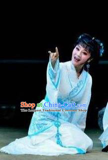 Chinese Drama Yuan Qu Ancient Court Lady Dance White Dress Stage Performance Costume and Headpiece for Women