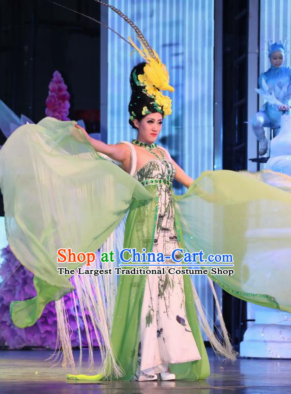 Chinese Night Of West Lake Classical Flower Dance Green Dress Stage Performance Costume and Headpiece for Women