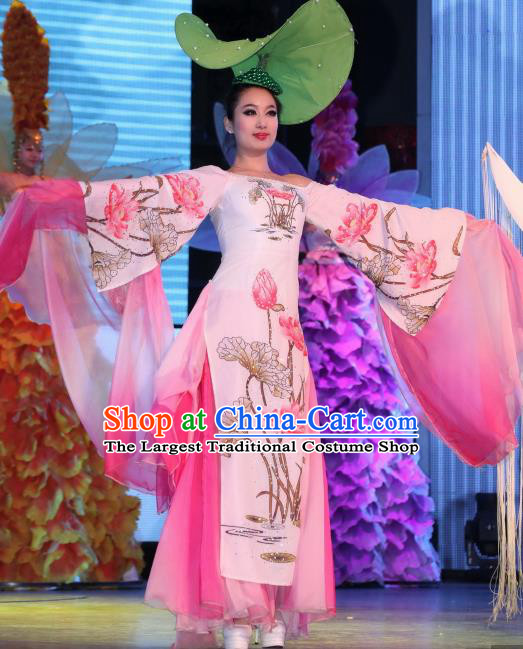 Chinese Night Of West Lake Classical Lotus Flower Dance Pink Dress Stage Performance Costume and Headpiece for Women