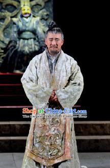 Chinese Drama Fu Sheng Ancient Qin Dynasty Confucian Scholar White Clothing Stage Performance Dance Costume for Men
