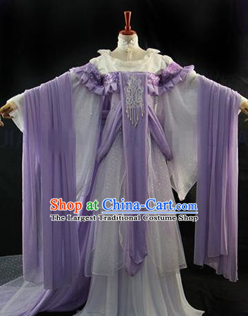 Traditional Chinese Cosplay Royal Princess Purple Dress Ancient Drama Goddess Costumes for Women