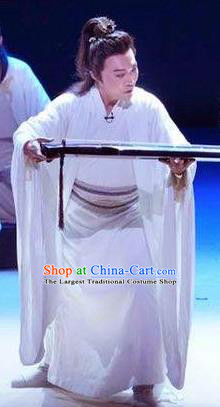 Chinese Drama Guangling Verse Ancient Jin Dynasty Scholar White Clothing Stage Performance Dance Costume for Men