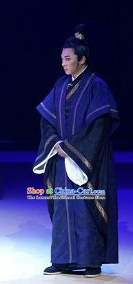 Chinese Drama Guangling Verse Ancient Jin Dynasty Scholar Navy Clothing Stage Performance Dance Costume for Men