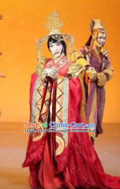 Chinese Zhaojun Chu Sai Ancient Han Dynasty Imperial Consort Red Dress Stage Performance Dance Costume and Headpiece for Women