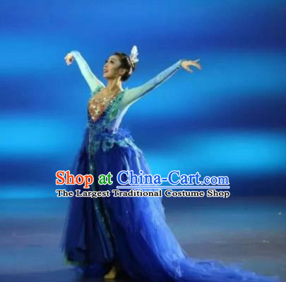 Chinese Zhaojun Chu Sai Mongol Nationality Blue Dress Stage Performance Dance Costume and Headpiece for Women
