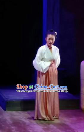 Chinese Drama Huating Song of Song Dynasty Female Dress Stage Performance Dance Costume and Headpiece for Women