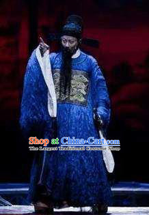 Chinese The Legend of Wang Yangming Ancient Ming Dynasty Officer Blue Clothing Stage Performance Dance Costume for Men
