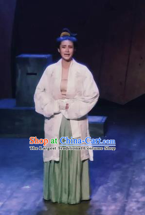 Chinese Drama Huating Song of Song Dynasty Court Lady Dress Stage Performance Dance Costume and Headpiece for Women