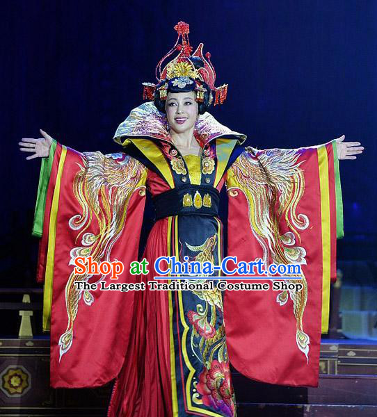 The Empress of China Ancient Tang Dynasty Queen Red Dress Stage Performance Dance Costume and Headpiece for Women