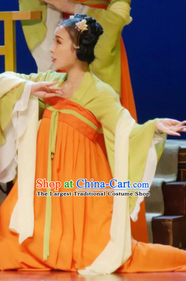 The Empress of China Ancient Tang Dynasty Court Lady Orange Dress Stage Performance Dance Costume and Headpiece for Women