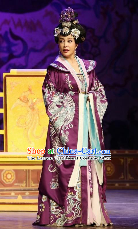 The Empress of China Ancient Tang Dynasty Court Queen Purple Dress Stage Performance Dance Costume and Headpiece for Women