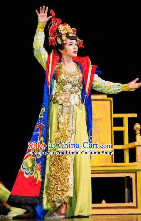 The Empress of China Ancient Tang Dynasty Queen Yellow Dress Stage Performance Dance Costume and Headpiece for Women