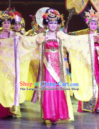 Chinese Impression of Suzhou Classical Dance Queen Dress Stage Performance Costume and Headpiece for Women