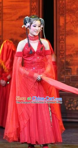 Chinese Impression of Suzhou Classical Dance Red Dress Stage Performance Costume and Headpiece for Women