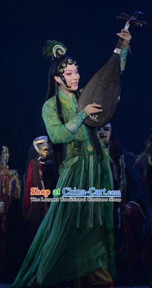 Chinese Zhaojun Chu Sai Ancient Princess Classical Dance Green Dress Stage Performance Costume and Headpiece for Women