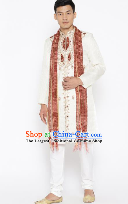 Asian Indian Wedding Embroidered Beige Clothing India Traditional Bridegroom Costumes Complete Set for Men