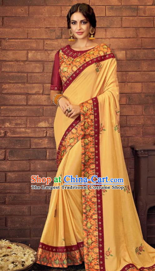 Asian Indian Court Yellow Silk Embroidered Sari Dress India Traditional Bollywood Costumes for Women