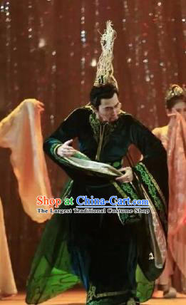 Chinese Zhaojun Chu Sai Dance Ancient Han Dynasty Emperor Green Clothing Stage Performance Dance Costume for Men