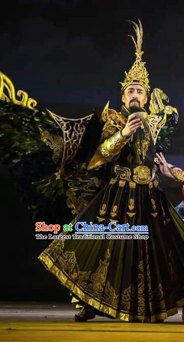 Chinese Zhaojun Chu Sai Dance Ancient Han Dynasty King Black Clothing Stage Performance Dance Costume for Men