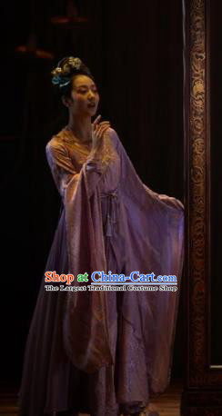 Chinese Zhaojun Chu Sai Ancient Han Dynasty Classical Dance Lilac Dress Stage Performance Costume and Headpiece for Women