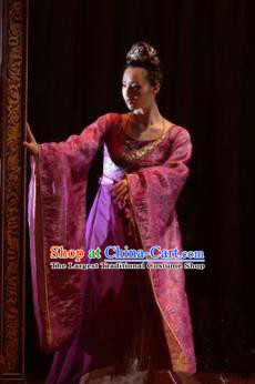Chinese Zhaojun Chu Sai Ancient Han Dynasty Classical Dance Purple Dress Stage Performance Costume and Headpiece for Women