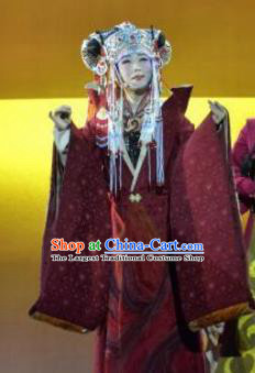 Chinese Zhaojun Chu Sai Ancient Court Queen Dark Red Dress Stage Performance Dance Costume and Headpiece for Women