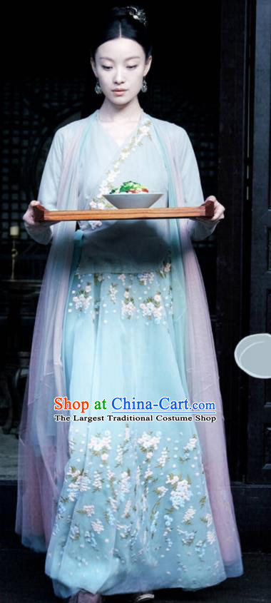 Chinese Drama Love and Destiny Ancient Flowers Goddess Ling Xi Ni Ni Replica Costumes and Headpiece for Women