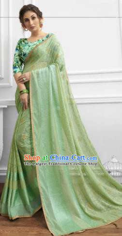 Light Green Chiffon Asian Indian National Lehenga Sari Dress India Bollywood Traditional Costumes for Women