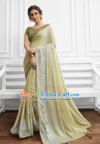 Light Yellow Chiffon Asian Indian National Lehenga Sari Dress India Bollywood Traditional Costumes for Women