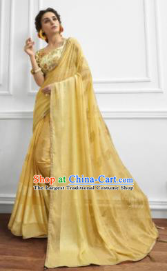 Yellow Chiffon Asian Indian National Lehenga Sari Dress India Bollywood Traditional Costumes for Women