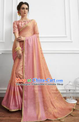 Pink Chiffon Asian Indian National Lehenga Sari Dress India Bollywood Traditional Costumes for Women