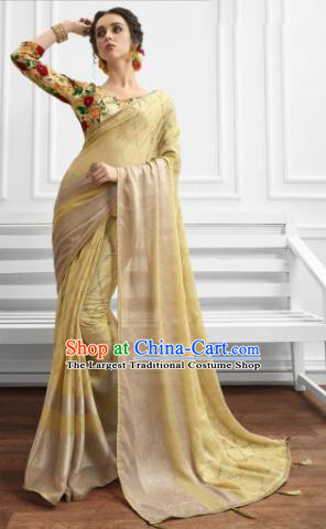 Ginger Chiffon Asian Indian National Lehenga Sari Dress India Bollywood Traditional Costumes for Women