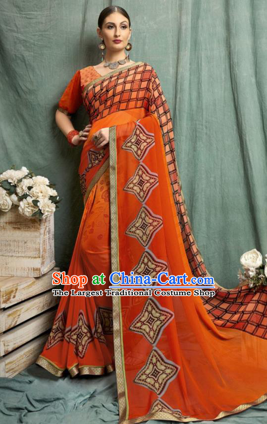Asian Indian Bollywood Printing Orange Chiffon Sari Dress India Traditional Costumes for Women